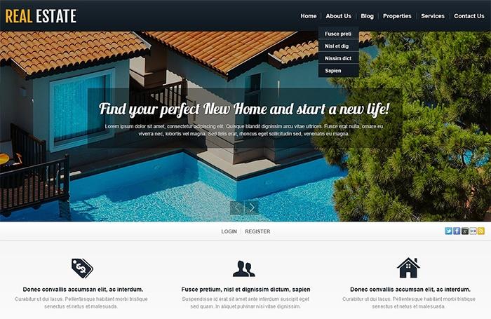 White Real Estate WordPress Theme