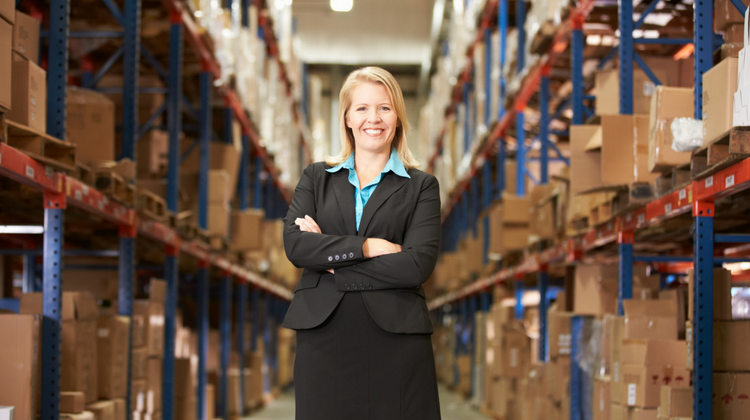 business woman warehouse