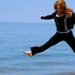 businesswoman leap